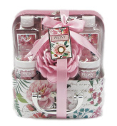 Peony Luxury Bath Spa Gift Set in Suit Case Box - Shower Gel, Bubble Bath, Body Lotion, Body Scrub, Bath Salts, Bath Sponge
