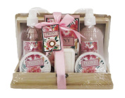 Peony Luxury Bath Spa Gift Set in Wooden Case - Shower Gel, Bubble Bath, Body Lotion, Body Scrub, Bath Salts, Bath Soap