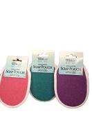 Body Bath Exfoliating Soap Pouch-Soap Lasts Longer-3 Soap Pouches-Pink,Green & Purple