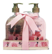 Perfect Rose Shower Gel and Body Lotion Bath Gift Set on a Wooden Tray