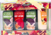 Fruit Scented Shower Gel & Body Lotion Gift Set - Coconut & Lime Shower Gel, Watery Pear & Peach Body Lotion, Watermelon & Grapefruit Body Lotion