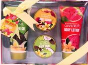 Fruit Scented Bath Gift Set - Coconut & Lime Shower Gel, Watery Pear & Peach Body Scrub, Coconut & Lime Bath Salts, Watermelon & Grapefruit Body Lotion