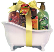 Fruit Scented Gift Set in Old Fashioned Tub - Coconut & Lime Bubble Bath, Watermelon & Grapefruit Shower Gel, Fruit Scented Soap, Fruit Scented Bath Salts, Massager