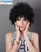ATOZ Hair ® Black Afro Kinky Curly Synthetic Wig African American Short Wigs For Black Women Black Colour Short Curl Female Wig