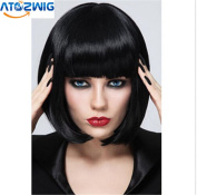 ATOZ Hair ® Short Bob Straight Hair Black Neat Bangs wig Heat Resistant Fibre Synthetic Cosplay Wigs