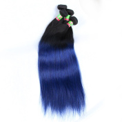 xuchang Eecamail hair products Brazilian virgin hair straight 2 bundle deal 200G Ombre Black T Blue hair extension,7A Brazilian virgin human hair weave