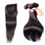 Rabake 3Bundles+1Closure Straight Grade 7A Brazilian Virgin Hair 100% Human Hair Extensions Real Hair Extensions 3 Bundles 36cm 41cm 46cm with 1Pc Free Part Lace Closure (4*4) 30cm Natural Colour
