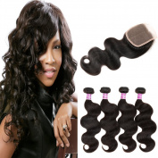 ZS Hair Brazilian Virgin Hair with Closure Unprocessed Brazilian Body Wave Human Hair Weave 4 Bundles with Closure 4x4 Lace Top Closure
