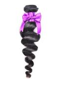 BEST LINA Brazilian Virgin Hair Loose Wave Hair Weave 100g Unprocessed Loose Deep Wave Virgin Human Hair Weave Natural Black 25cm - 70cm One pc Single piece
