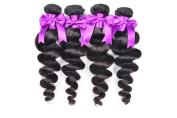 BEST LINA Peruvian Virgin Hair Loose Wave Hair Weave 3 Bundles 300g Unprocessed Loose Deep Wave Virgin Human Hair Weave Natural Black 25cm - 70cm (36cm 41cm 46cm )