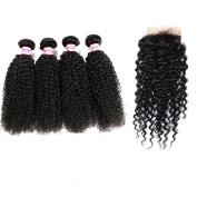 Rabake 4Bundles+1Closure Kinky Curly Grade 7A Brazilian Virgin Hair 100% Human Hair Extensions Real Hair Extensions 3 Bundles 30cm 36cm 41cm 46cm with 1Pc Free Part Lace Closure (4*4) 25cm Natural Colour