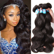Donmily 3 Bundles Brazilian Body Wave Hair Extensions 95-100g/pc 6A Unprocessed Virgin Brazilian Human Hair Weave Natural Hair Colour