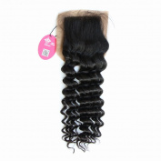 Queen Hair Products Free Style/Part Silk Base Closure Deep Wave 1pc 20cm Brazilian Virgin Hair Deep Wave Curly Top Lace Closure