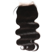 Toprincess 10cm x 10cm Brazilian Body Wave Top Closure Unprocessed Human Hair Lace Closure Bleached Knots with Baby Hair 130% Density Free Part Lace Closure