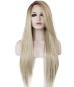 Diforbeauty 60cm Two Tone Long Stright Brown to Blonde Ombre Hand Tied Lace Front Wig Synthetic Hair