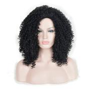 Andao Medium Length Afro Kinky Marley Braids Curly Hair Dreadlocks Wig African American Celebrity Wigs Black