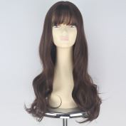 Miss U Hair Synthetic Long Wavy Curly Hair Women Brown Fashion Party Cosplay Wigs with Full Bangs