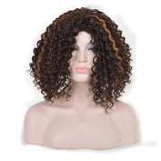 Andao Medium Length Afro Kinky Marley Curly Hair Wig African American Celebrity Wigs