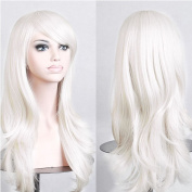 """Sexybaby Wig Full Wigs Cap Hair Nets Long Real Synthetic Fibre 214g White 23""""(58CM) Natural Daily Hairpiece"""