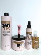 "Genus Argan Moisturising Shampoo 33.8 oz, Moisturising Mask 16.9 Oz, Multiaction Leave-in Mask 6.76 Oz and Moisturising Serum 3.38 Oz ""Free Starry Sexy Kiss Lip Plumping 10 Ml"""