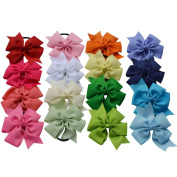 Bzybel 16pcs Boutique 11cm Grosgrain Ribbon Hair Bows Hair Ties Ponytail Holders With Hair Elastics for Teens Young Women