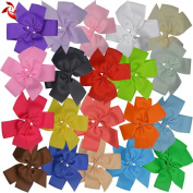 Xuanli® 20 Pcs 14cm Grosgrain Ribbon Pinwheel Headbands Boutique Hair Bows Alligator Clips Hair Accessories For Women Lady Baby Girls Kids Teens Toddlers Chirld With Box