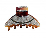 JCPeniel Elegant Style Medium Size Two tones Rhinestones Claw Clip Jaw Clips Brown