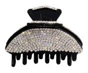 JCPeniel Elegant Style Medium Size Fancy Rhinestones Claw Clip Jaw Clips Black