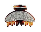 JCPeniel Elegant Style Medium Size Fancy Rhinestones Claw Clip Jaw Clips Brown