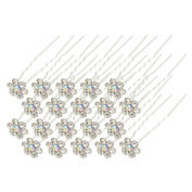 40Pcs Bridal Wedding Crystal Hair Pins Bridal Prom Clips White