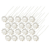 40Pcs Pearls and Crystal Flower Wedding Bridal Hair Pins Clips Bridesmaid Jewellery for womensmaids, Proms, Pageants Pins