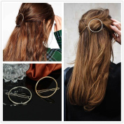 Akak Store Hollow Hoop Round Circle Geometric Metal Hair Clip Bobby Pin Ponytail Holder Hair Accessories for Women and Girl