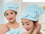 Lunar baby Cute Bowknot Ultra Absorbent Shower Bath Spa Cap Hair Drying Dry Towel Wrap Cap Turban(Blue)