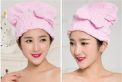 Lunar baby Cute Bowknot Ultra Absorbent Shower Bath Spa Cap Hair Drying Dry Towel Wrap Cap Turban(Pink)