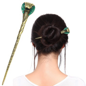Fashion & Lifestyle Hair Decor Chinese Traditional Style Hair Sticks Shawl Pins Picks Pics Forks for Women Girls Hair Updo Making Accessory 16cm with Cobra,Green