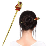 Fashion & Lifestyle Hair Decor Chinese Traditional Style Hair Sticks Shawl Pins Picks Pics Forks for Women Girls Hair Updo Making Accessory 14cm with Flower,Red