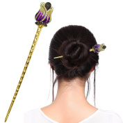 Fashion & Lifestyle Hair Decor Chinese Traditional Style Hair Sticks Shawl Pins Picks Pics Forks for Women Girls Hair Updo Making Accessory 14cm with Flower,Purple