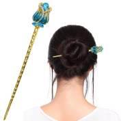 Fashion & Lifestyle Hair Decor Chinese Traditional Style Hair Sticks Shawl Pins Picks Pics Forks for Women Girls Hair Updo Making Accessory 14cm with Flower,Light Blue
