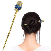 Fashion & Lifestyle Hair Decor Chinese Traditional Style Hair Sticks Shawl Pins Picks Pics Forks for Women Girls Hair Updo Making Accessory 14cm with Flower,Blue