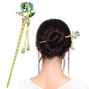 Fashion & Lifestyle Hair Decor Chinese Traditional Style Hair Sticks Shawl Pins Picks Pics Forks for Women Girls Hair Updo Making Accessory 15cm with Flower,Green