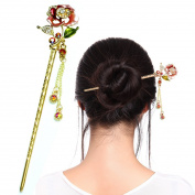 Fashion & Lifestyle Hair Decor Chinese Traditional Style Hair Sticks Shawl Pins Picks Pics Forks for Women Girls Hair Updo Making Accessory 15cm with Flower,Pink
