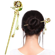 Fashion & Lifestyle Hair Decor Chinese Traditional Style Hair Sticks Shawl Pins Picks Pics Forks for Women Girls Hair Updo Making Accessory 15cm with Flower,Champagne Colour