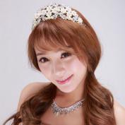 BININBOX Bridal Crystal Pearl Crown Fascinator Headpiece Wedding Headband Hair Jewellery