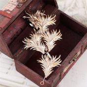 BININBOX Bride Gold/Silver Leaves Crystal Headpiece Wedding Party Hair Jewellery