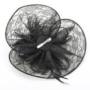 BININBOX Sexy Black Feather Lace Fascinator Top Hat Cocktail Party Hair Accessory