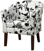 Coaster Home Furnishings 460406 Bird Pattern Fabric Accent Barrel Chair, Black and White