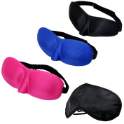 Sleep Eye Mask Set, Kingstar Comfortable Unisex 3d Sponge Eyeshade and Silk Soft Sleeping Blinder Set of 4 Adjustable Headband Lightweight Patch