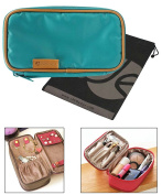 Double-Sided Cosmetic Toiletry / Jewellery Travel Organiser Bag (20cm L x 11cm H x 8.1cm W) with Bonus Drawstring Bag