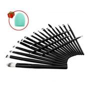 Mily 20 Pcs Black Rod Makeup Brush Cosmetic Set Kit with a Makeup Brush Cleaner