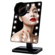 Onson Tabletop LED Lighted Makeup Mirrors Touch Screen 180 Degree Free Rotation Movable Cosmetic Vanity 10x Magnifying Spot Mirror